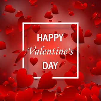 Valentinstag-verkaufsangebot, banner-vorlage, tapete, flyer, einladung, broschüre, gutschein. valentinstag herz verkauf tags. shop marktplakat. romantische komposition mit rotem 3d-herz.