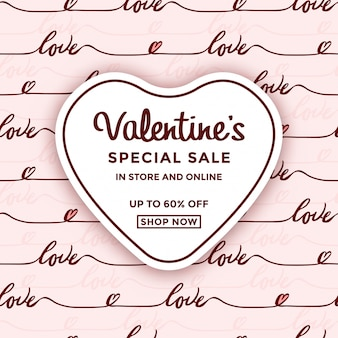 Valentinstag-verkaufsanzeige mit herzrahmen