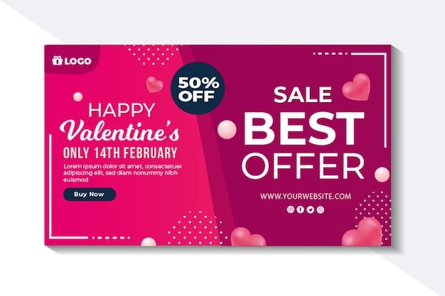 Valentinstag verkaufsbanner mit rabatt