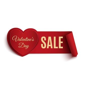 Valentinstag-verkaufsfahne, lokalisiert auf weißem hintergrund.