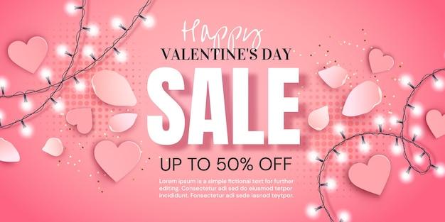 Valentinstag-verkaufsfahne mit girlande und herzen