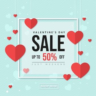 Valentinstag-verkaufsfahne mit herzen auf blauem hintergrund