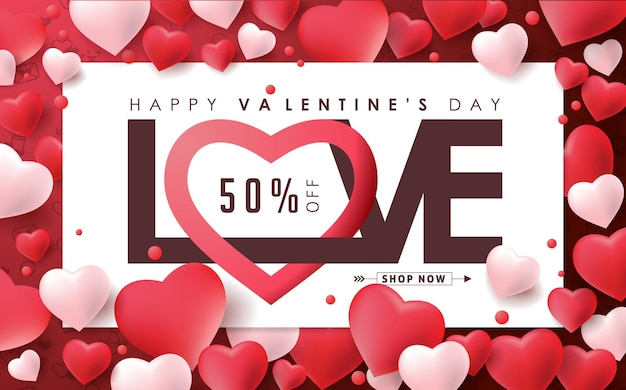 Valentinstag-verkaufsfahne mit herzformballon