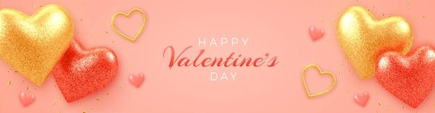 Valentinstag-verkaufsfahne mit leuchtenden realistischen roten und goldenen 3d luftballonherzen mit glitzerstruktur und konfetti auf rosa