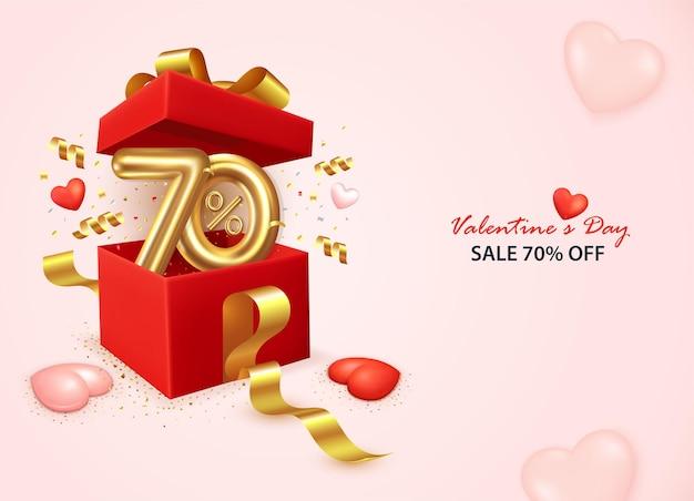 Valentinstag-verkaufsfahne mit offener geschenkbox