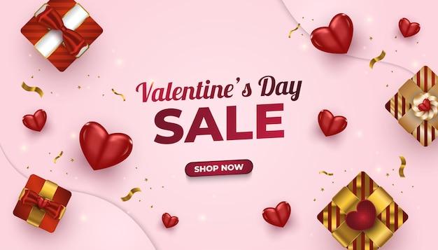 Valentinstag-verkaufsfahne mit realistischer geschenkbox, roten herzen und glitzerndem goldkonfetti