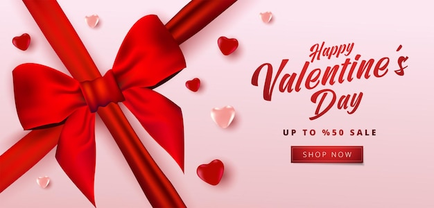 Valentinstag-verkaufsfahne mit vielen süßen herzen und realistischem bogen.