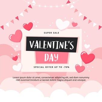 Valentinstag-verkaufsfahne mit wolken und herzen.