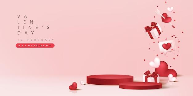 Valentinstag-verkaufsfahne mit zylindrischer form der produktanzeige.