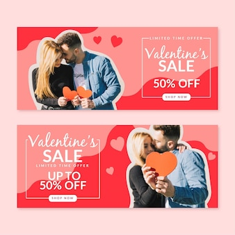 Valentinstag-verkaufsfahnen mit foto