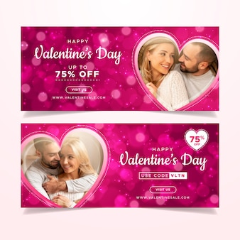Valentinstag-verkaufsfahnen mit fotopaket