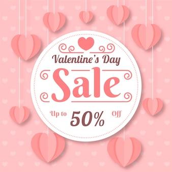 Valentinstag-verkaufshintergrund des reizenden flachen designs
