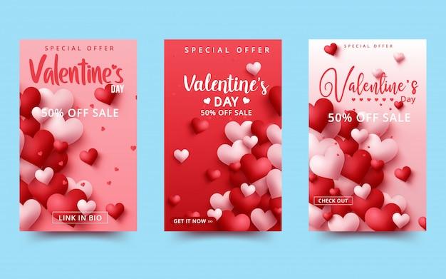 Valentinstag-verkaufshintergrund mit herzförmigen ballonen.