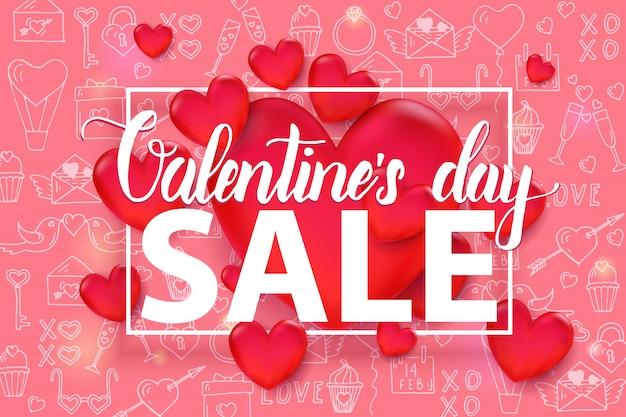 Valentinstag-verkaufshintergrund mit rotem herzen 3d und rahmen auf nahtlosem muster