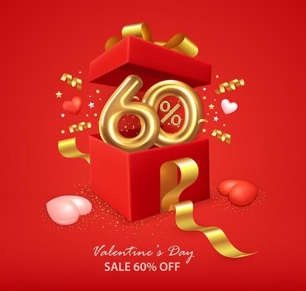 Valentinstag-verkaufsplakat mit öffnender geschenkbox