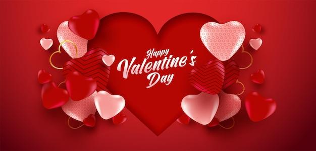 Valentinstag-verkaufsplakat oder -fahne mit vielen süßen herzen und auf rotem farbhintergrund.