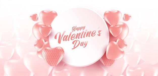 Valentinstag-verkaufsplakat oder -fahne mit vielen süßen herzen und auf weichem rosa farb- und herzmusterhintergrund.