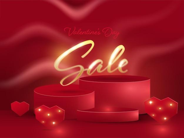 Valentinstag-verkaufsschrift auf dem podium mit herz- und lichteffekt auf rotem hintergrund.