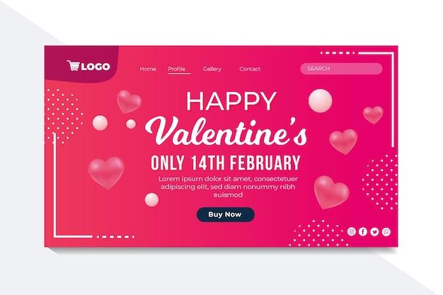 Valentinstag-verkaufsseite mit rabatt