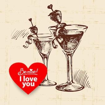 Valentinstag-vintage-hintergrund. hand gezeichnete illustration mit herzformfahne. cocktails