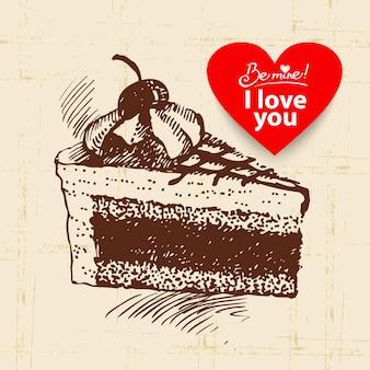 Valentinstag-vintage-hintergrund. hand gezeichnete illustration mit herzformfahne. kuchen