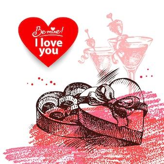 Valentinstag-vintage-hintergrund. hand gezeichnete illustration mit herzformfahne.