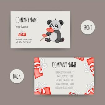 Valentinstag-visitenkarte mit einem panda. cartoon-stil. vektor-illustration.