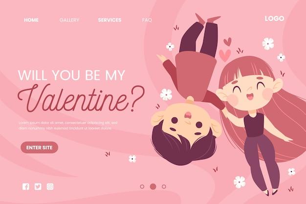 Valentinstag-webtemplate-konzept