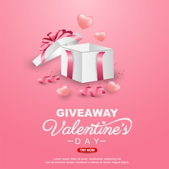 Valentinstag werbegeschenk banner vorlage design mit realistischen geschenkbox