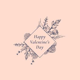 Valentinstag zusammenfassung botanical label mit rhombus frame floral