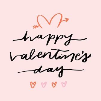 Valentinstagbeschriftung auf rosa hintergrund
