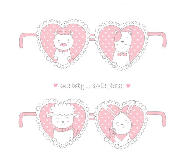 Valentinstagdesign mit netter gezeichneter art der tierkarikatur hand