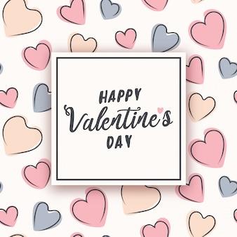 Valentinstagdesign mit pastellgekritzelherzen