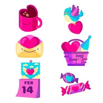 Valentinstagelemente im flachen design