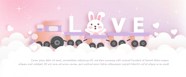 Valentinstagfahne mit nettem kaninchen im papierschnitt und im handwerksstil.