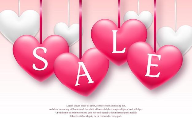 Valentinstagfeiertags-verkaufsfahne mit den rosa und weißen herzen. nur für begrenzte zeit. vektor