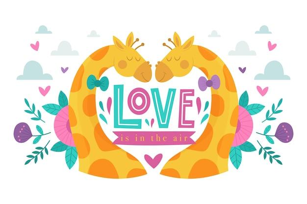 Valentinstaggiraffen-paarillustration