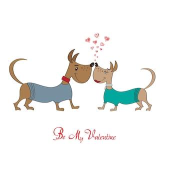 Valentinstaggrußkarte mit karikaturhundecharakteren