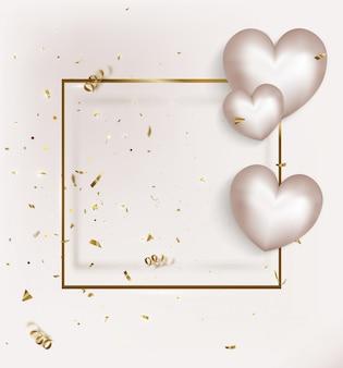 Valentinstaggrußkarte mit weißen ballons auf goldrahmen
