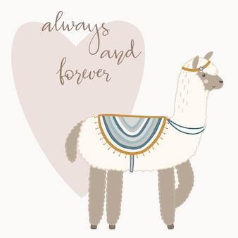 Valentinstaggrußkarte. nettes lama mit hand gezeichneten elementen. immer und für immer.