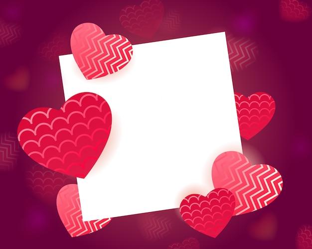 Valentinstaggrußschablone mit papierrahmen