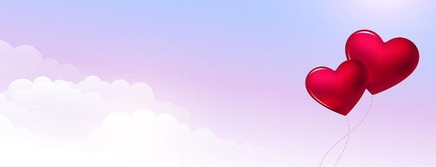 Valentinstagherzenballon über dem himmel