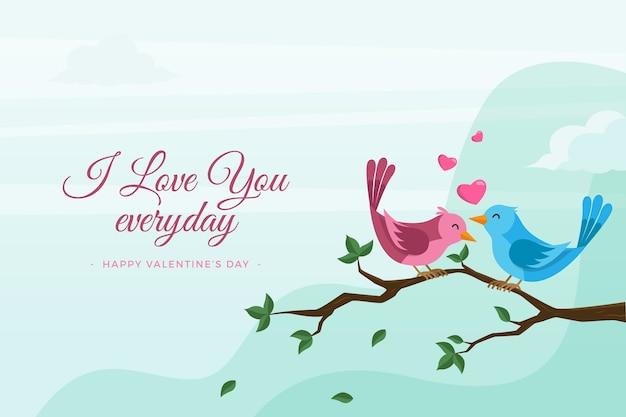 Valentinstaghintergrund im flachen design