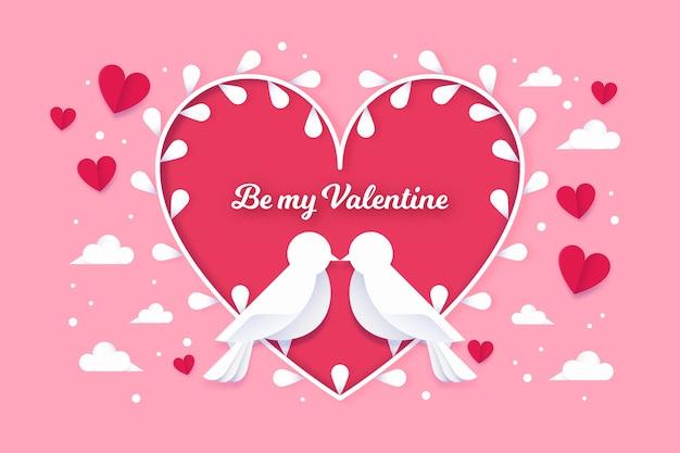 Valentinstaghintergrund im papierartdesign