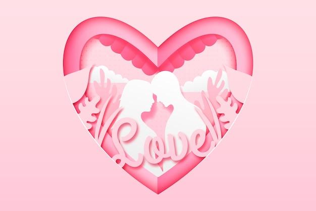Valentinstaghintergrund in der papierart und in den reizenden paaren