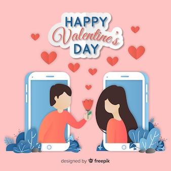 Valentinstaghintergrund in der papierart