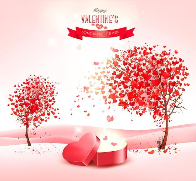 Valentinstaghintergrund mit einer herzförmigen geschenkbox.