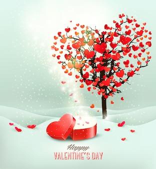 Valentinstaghintergrund mit einer offenen roten geschenkbox