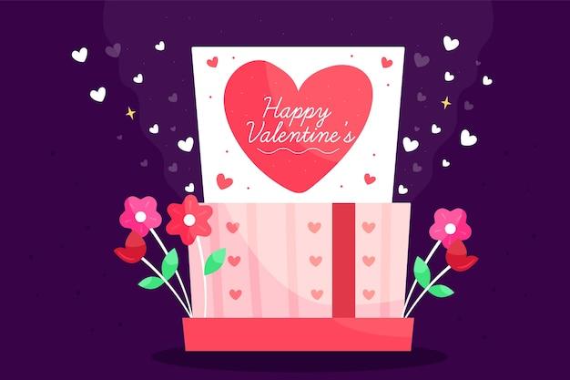 Valentinstaghintergrund mit geschenk und blumen