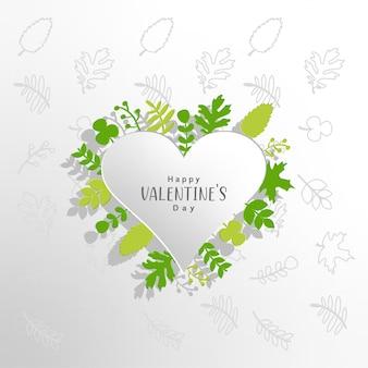 Valentinstaghintergrund mit grünen blättern